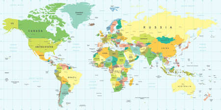 geographical locations: World Map - illustration. Colored and Grid.