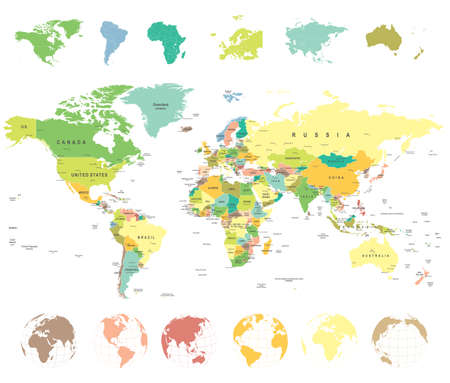 business asia: World map and globes - highly detailed vector illustration.