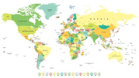 geographical locations: World map and Navigation Labels - highly detailed vector illustration.