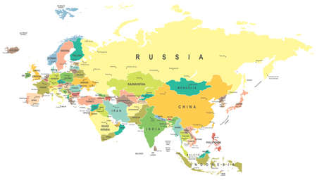 Eurasia map - highly detailed vector illustration. Reklamní fotografie - 49815975