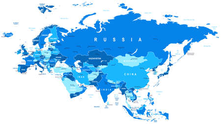 russia map: Eurasia map - highly detailed vector illustration.