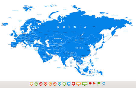 regions: Eurasia map - highly detailed vector illustration.