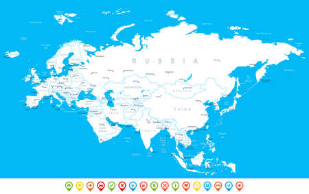 navigation icons: Eurasia - map, navigation icons - illustration.