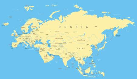 ukraine: Eurasia map - highly detailed vector illustration.