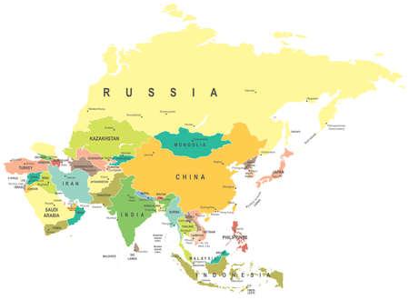 Asia - map - illustration Stock Illustratie