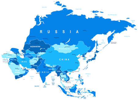 Asia - map - illustration. Vettoriali