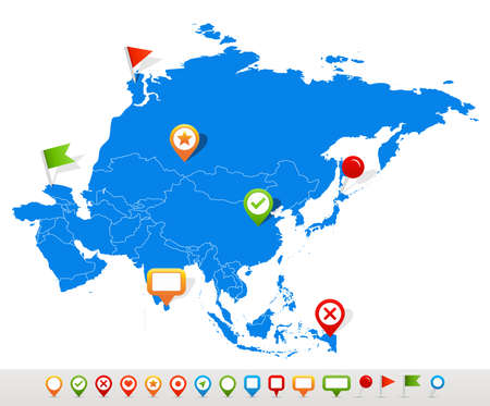 map of asia: Asia map and navigation icons - Illustration.