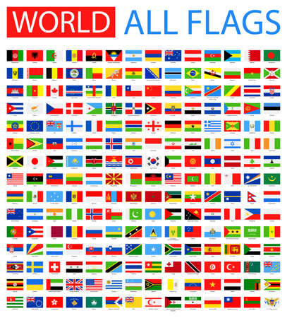 All World Vector Flags. Vector Verzameling van Flat Flags.