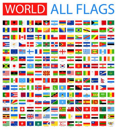 america del sur: Todas las Banderas del mundo del vector. Colección del vector de banderas planas. Vectores