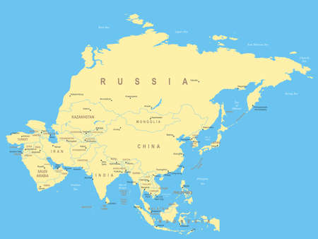 geographical locations: Asia - map - illustration. Illustration