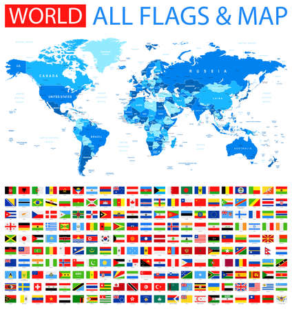 All Flags and World Map. Stock Vector - 49816025