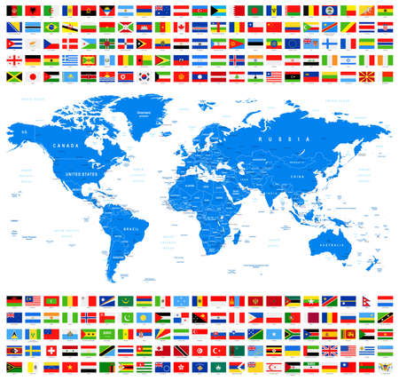 All Flags and World Map. Azur. Vectores