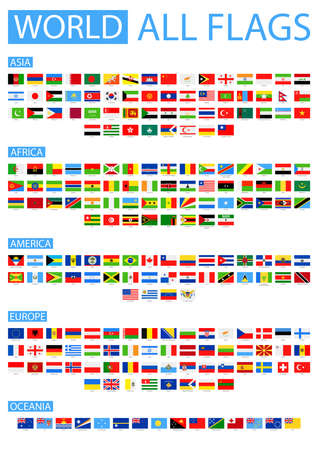 All World Vector Flags. Vector Verzameling van Flat Flags. Gesorteerd op Continenten.