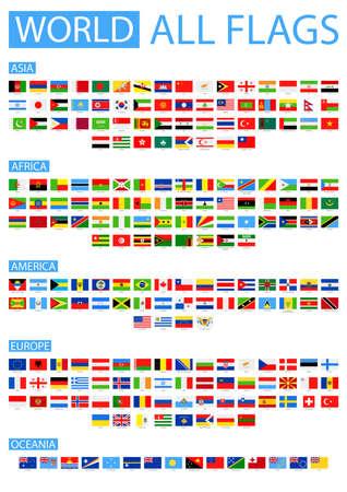 Todas las Banderas del mundo del vector. Colección del vector de banderas planas. Ordenado por continentes. Foto de archivo - 49816028