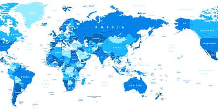 länder: Weltkarte - Asien im Zentrum. Sehr detaillierte Vektor-Illustration der Weltkarte. Bild enthält Landkonturen, Land und Landnamen, Städtenamen, Wasser Objektnamen Illustration