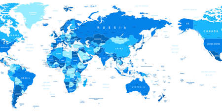 russia map: World Map - Asia in center. Highly detailed vector illustration of world map. Image contains land contours, country and land names, city names, water object names Illustration