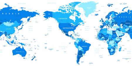 Kaart van de wereld - Amerika in het centrum. Zeer gedetailleerde vector illustratie van de wereldkaart. Het beeld bevat land contouren, land en land namen, stadsnamen, water object namen.