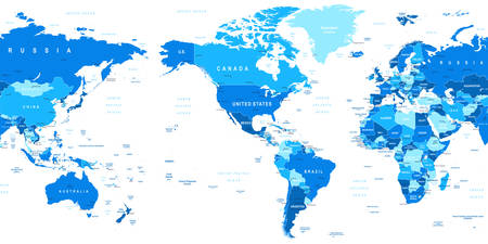 world map blue: World Map - America in center. Highly detailed vector illustration of world map. Image contains land contours, country and land names, city names, water object names. Illustration