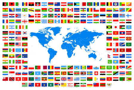 Alle Vlaggen en World Map. Vector Collectie van World vlaggen en kaart. Stock Illustratie