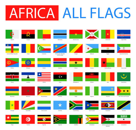 Flags of Africa - Full Vector Collection. Vector Set di piatti bandiere africane. Archivio Fotografico - 49816034