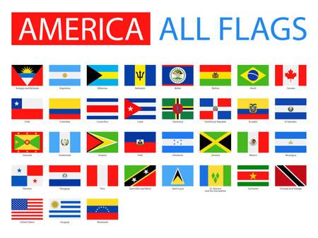 bandera de chile: Banderas de América - Colección completa del vector. Vector Conjunto de banderas planas. Vectores