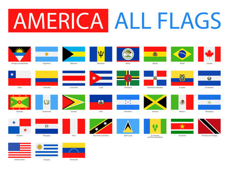cuba flag: Flags of America - Full Vector Collection. Vector Set of Flat American Flags.