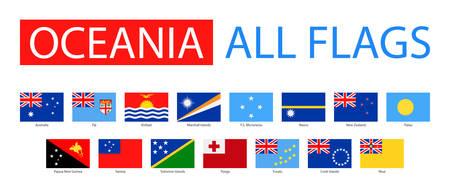 bandera de nueva zelanda: Banderas de Oceanía - Colección completa del vector. Vector Conjunto de banderas planas de Oceanía.