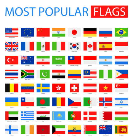 usa: Most Popular Flags - Vector Collection. Vector Set of Flat National Flags.