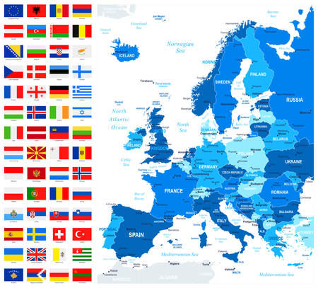 Map and Flags of Europe - Full Vector Collection. Vector Set of Flat European Flags and Map.