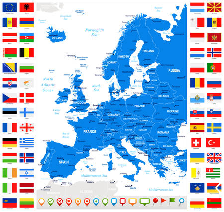 Map and Flags of Europe - Full Collection. Set of Flat European Flags and Map.