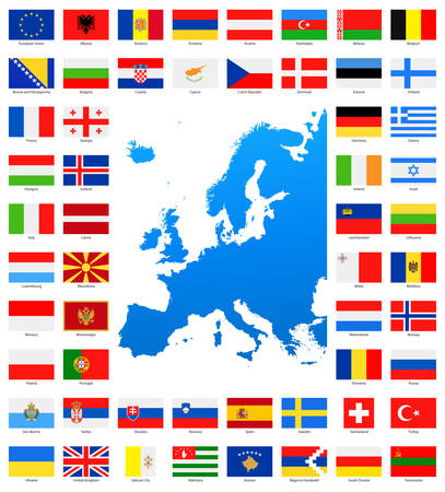 european map: Map and Flags of Europe - Full Collection. Set of Flat European Flags and Map.
