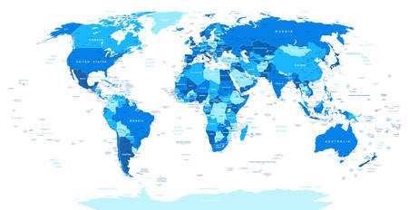 Blue World Map - borders, countries and cities -illustration. Highly detailed illustration of world map. Image contains land contours, country and land names, city names, water object names. Vettoriali