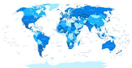 Programma di mondo blu - confini, paesi e città-illustrazione. Altamente dettagliata illustrazione della mappa del mondo. Immagine contiene orografia del terreno, nomi di paesi e terrestri, nomi di città, nomi di oggetti d'acqua. Vettoriali