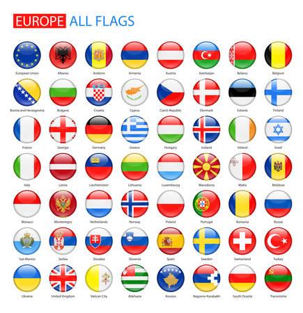 ヨーロッパ - 完全なコレクションの光沢のある丸いフラグ。  イラスト・ベクター素材