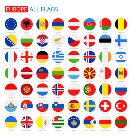Flach Rund Flags of Europe - Full-Sammlung. Satz von Runde European Flags.