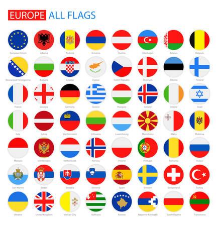 Płaskie Okrągłe Flags of Europe - Pełna kolekcja. Zestaw okrągłych Flagi Europy.