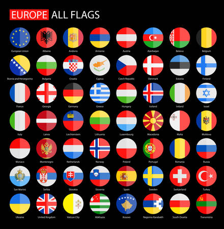 Flat Round Flags of Europe on Black Background - Full Collection. Set of Round European Flags.