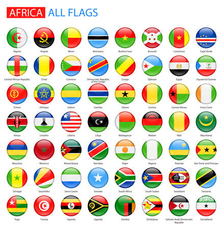 Round Glossy Flags of Africa - Full Collection. Set of African Flag Buttons.