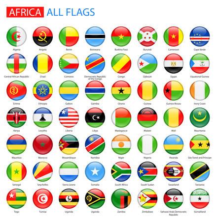 Banderas brillantes ronda de África - Colección completa. Conjunto de botones de la bandera de África.