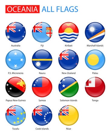 oceania: Round Glossy Flags Of Oceania - Full Collection. Set of Oceanian Flag Icons: Australia and Oceania. Illustration