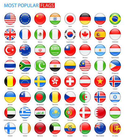 Round Glossy Most Popular Flags - Collection. Set of National Flag . 矢量图像