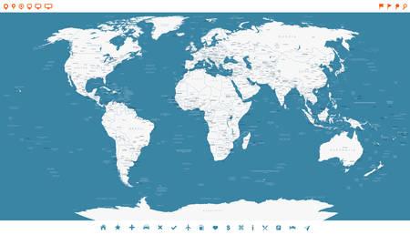 Blue Steel World Map et les icônes de navigation - illustration. Très détaillée carte du monde: les pays, les villes, les objets de l'eau.