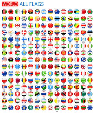 Okrągłe Błyszczący flagi Wszystko Świat wektorowe. Wektor Kolekcja flagi ikony.