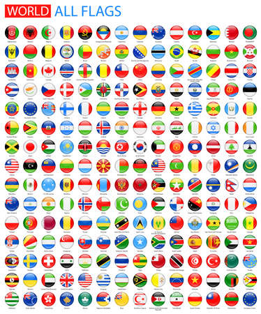 Round Glossy Flags All World Vector. Collection Vecteur de Flag Icons. Illustration