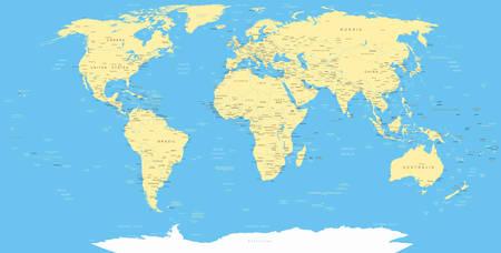 krajina: White World Map a navigační ikony - ilustrace.