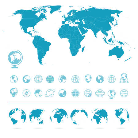 world map blue: World Map, Globes Icons and Symbols - Illustration. set of world map and globes. Illustration