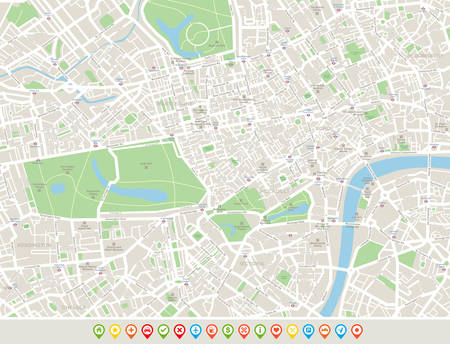 London Map and Navigation Icons. Highly detailed map of London. Map includes streets, parks, names of sub districts, points of interests.