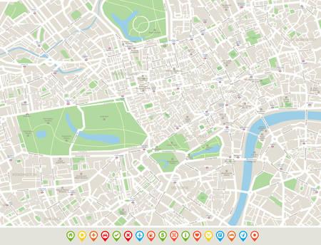 London Karte und Navigation Icons. Highly Karte von London aufgeführt. Karte umfasst Straßen, Parks, die Namen der Unterbezirke, Sehenswürdigkeiten. Vektorgrafik