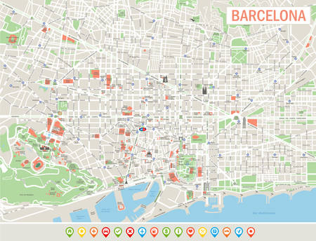 Barcelona Map and Navigation Icons. Highly detailed map of Barcelona. Map includes streets, parks, names of sub districts, points of interests.