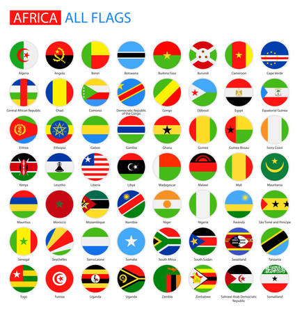 nigeria: Flat Round Flags of Africa - Full Vector Collection. Vector Set of African Flag Buttons. Illustration